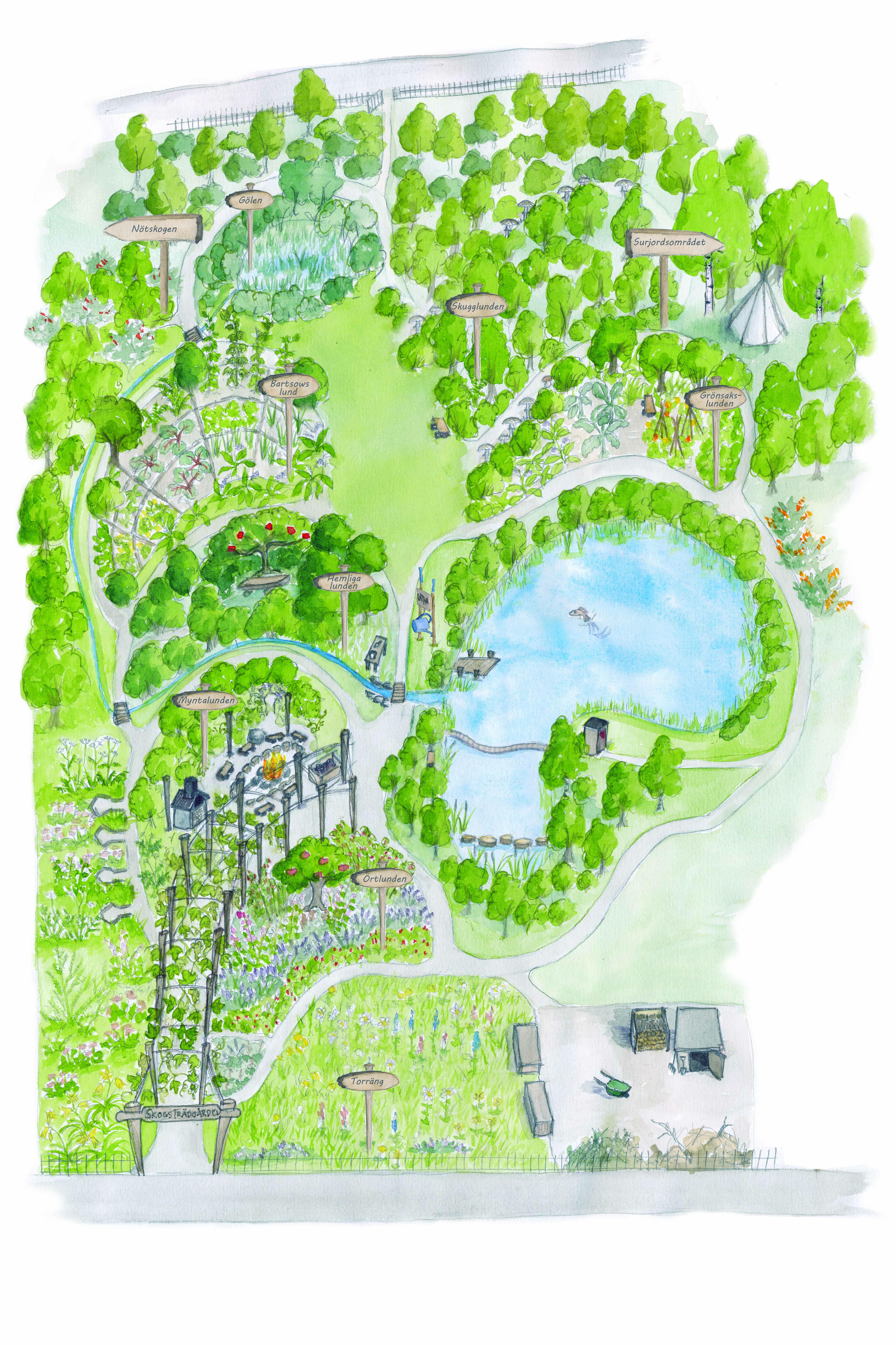Karta över skogsträdgården